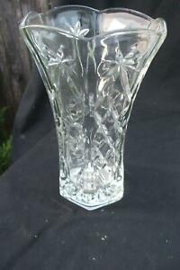 Decorative Tall Pressed Glass Vase Clear Vintage Antique