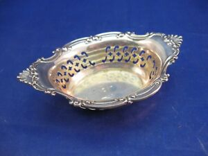 Antique Sterling Silver Reticulated Nut Dish A 4780 Has Nice Makers Mark