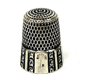 Antique Simons Bros Sterling Silver Thimble Fluted Octagon Size 7