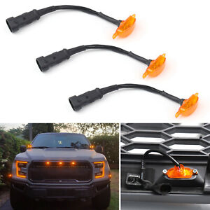 3x For 2015 2019 Ford F 150 F150 Raptor Style Bumper Grille Amber Led Lights Tt
