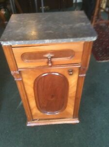 Victorian Marble Top Walnut Night Stand End Table With Drawer And Door