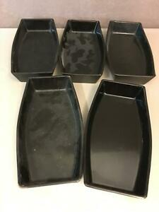 Japanese Vintage Black Lacquer Ware Wood 5 Plates Bowls