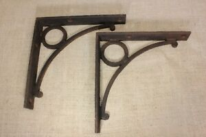 2 Shelf Supports Brackets Braces 8 Old Vintage Heavy Duty Rustic Cast Iron
