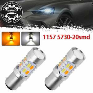 2x 1157 Dual Color Switchback White Amber 5730 Led Turn Signal Light Bulbs