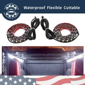 2pcs Pure White Truck Cargo Bed Led Light Strip Kit For Ford F 150 Waterproof Us