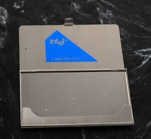 Rare Intel Computer Silver Tone Business Card Holder Case New Old Stock