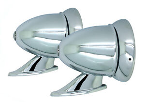 New Talbot Style Chrome Bullet Fender Or Door Mount Side Mirrors Vintage Classic