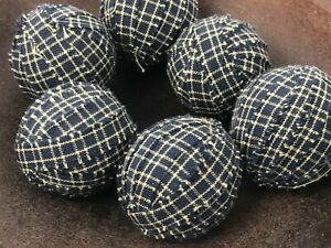 Small Primitive Rag Balls Blue Plaid Homespun 1 5 Inch Bowl Filler