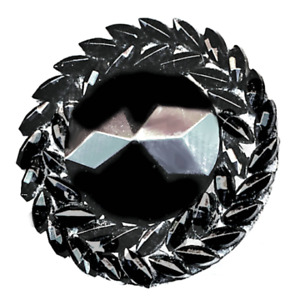 Button Late 19th C Mechanical Make Up Black Glass Wreath Border