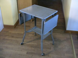 Vintage Metal Typwriter Desk Industrial Rolling Cart Computer Laptop Work 1950s