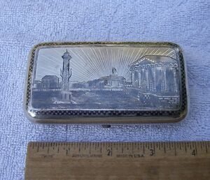 Good Russian Scenic Niello Silver Cigarette Case Dated 1875 Maker Ae Nr