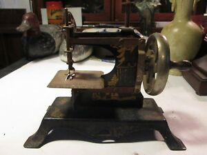 Rare Miniature Antique Steel Tin Toy Sewing Machine Germany 1900 Asian Motif