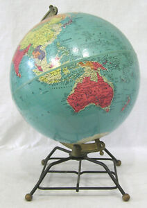 Vintage World Globe Replogle 10 Reference On 4 Metal Legs 1950s