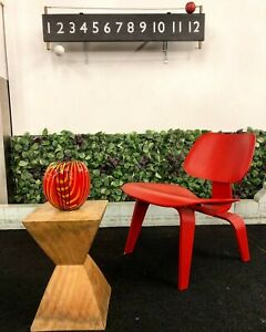 Mid Century Modern Herman Miller Eames Lcw Molded Plywood Lounge Chair Red