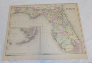 1882 Antique Color Map County Map Of Florida Published By Bradley