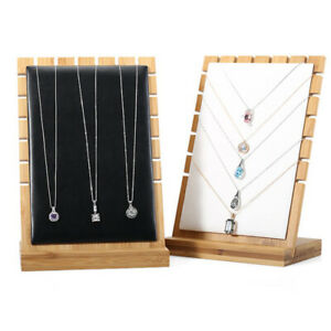 Black white beige Vertical Wooden Board Necklace Display Jewelry Stand