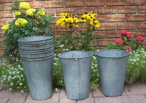 4 Nice Old Galvanized Maple Syrup Sap Buckets Tapered Great
