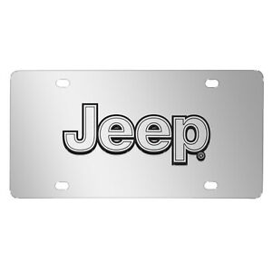 Jeep Silver 3d Logo Mirror Chrome Stainless Steel License Plate