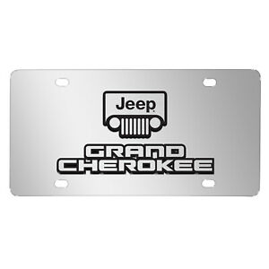 Jeep Grand Cherokee 3d Dual Logo Mirror Chrome Stainless Steel License Plate
