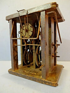 Antique German Wag O Wall Striking Clock In Wooden Frame C 1840 60