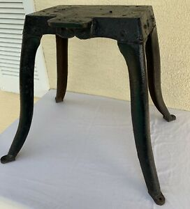 Antique Machine Age Table Base Industrial Steampunk Salvage Heavy Cast Iron 19