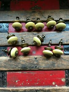 Vintage Yellow Porcelain Cabinet Door Knobs Draw Pulls Brass Lot Of 11 Round Old