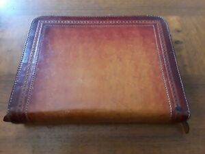 Vintage Day Timer Tooled Leather Cover Compact Planner