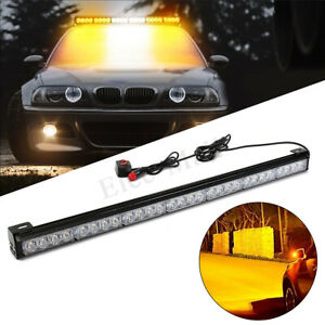 31 28 Led 12v Emergency Strobe Light Bar Warning Traffic Advisor Amber