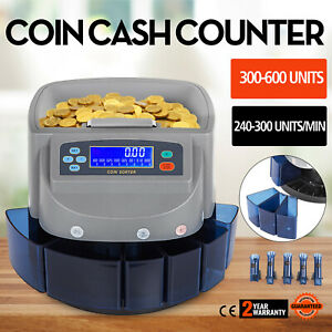 Automatic Us Coin Counter Sorter Machine Batch Function Separated Drawers New