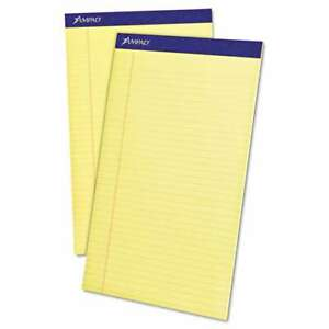 Ampad Perforated Writing Pad 8 1 2 X 14 Canary 50 Sheets Doz 074319202301