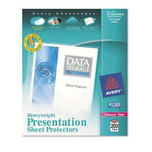 Avery Top load Poly Sheet Protectors Heavy Letter Diamond Cle 077711744004