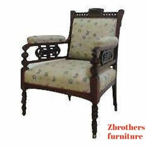Antique Victorian Carved Fireside Lounge Living Room Arm Chair A