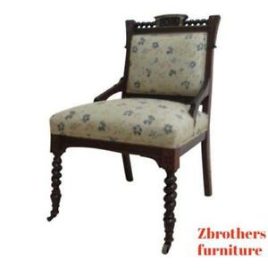 Antique Victorian Carved Walnut Fireside Lounge Living Room Chair B
