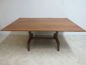 Vintage Jamestown Lounge Oak Mid Century Dining Room Banquet Conference Table
