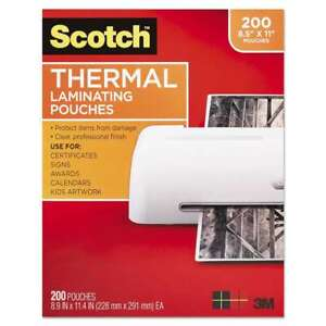 Scotch Letter Size Thermal Laminating Pouches 3 Mil 11 2 5 X 8 051141951133
