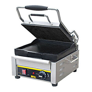 Buffalo Ge045 Panini Grill With Ribbed Plates 9 5 X 9 5