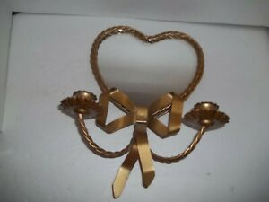 Vintage Braided Brass Metal Heart Mirror Candle Holder Sconce Wall Decor Tole