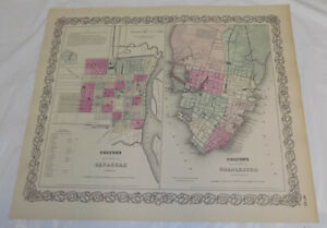 1866 Color Colton Map Of Savannah Georgia And Charleston South Carolina