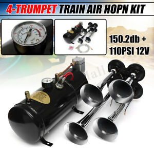 4 Trumpet Super Loud Air Horn Compressor Tank Gauge Hose Kit Car Truck
