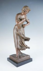 Fine Bronzed Early 20c Figural Lamp Base Woman Holding Umbrella For Restoration
