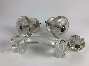 Lot Of 4 Vintage Clear Glass Cabinet Drawer Knobs Handles