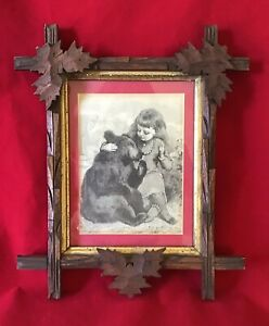 Unusual 3 Carved Leaves Adirondack Picture Frame Girl Bear Drawing Print 11x13