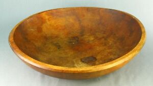Antique American Primitive Hand Carved Maple Wood Treen Lg Dough Mixing Bowl