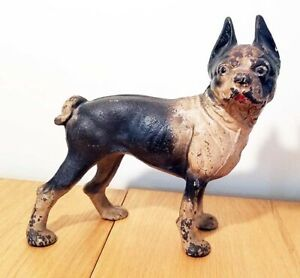 Vintage Cast Iron Boston Terrier Dog 9 Inches Tall