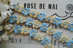 1y Vintage French Yellow Blue Cotton Rococo Rosette Flower Ribbon Trim Lace Doll