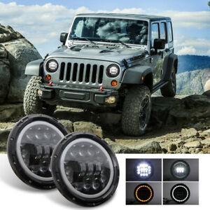 7 400w Cree Led Headlight High Low Beam For Jeep Wrangler Jk Tj Lj Cj Hummber