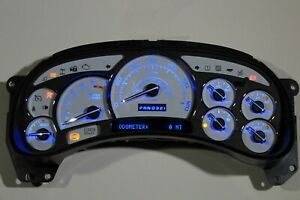 5z 03 04 White Gauge Premium Blue Led Tahoe Avalanche Whole Instrument Cluster