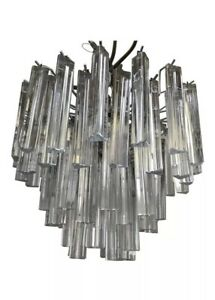 Vintage Mid Century Mod Murano Glass Prism Tiered Chandelier Silver Nice