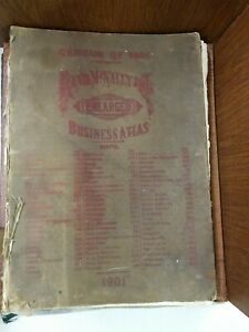 Vintage Census 1900 Rand Mcnally Enlarged Business Atlas Maps