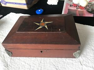 Early American Wooden Box W Colored Hand Painted Top Corner Embellishments